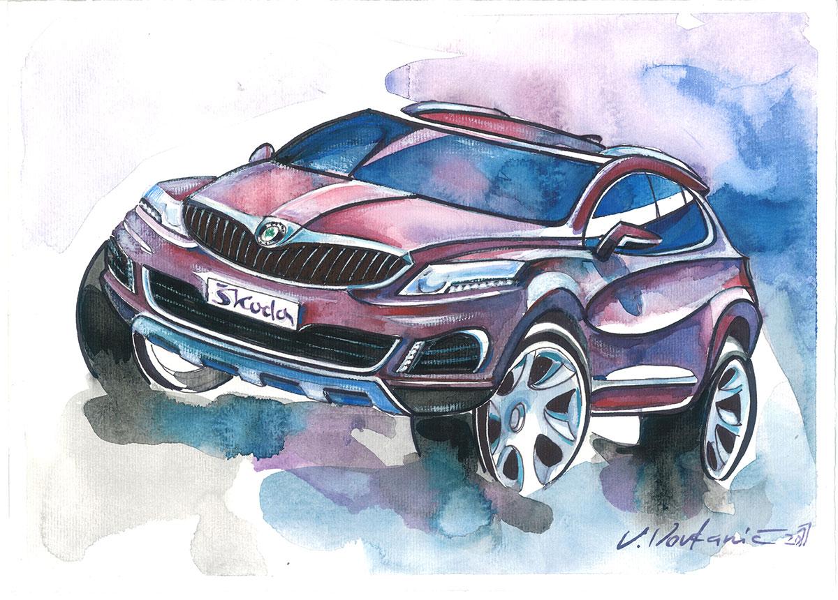 Skoda Suv Design Sketch Vlado Vovkanic